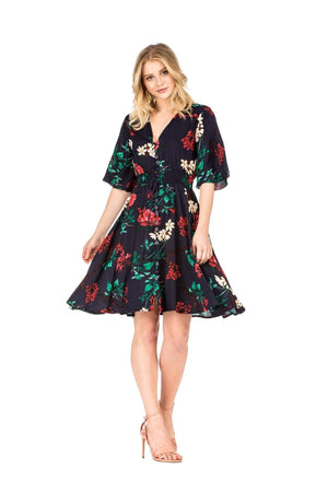 DAILYHAUTE Women's dress NAVY / S Haute Edition Women's Button Up Floral Party Dress