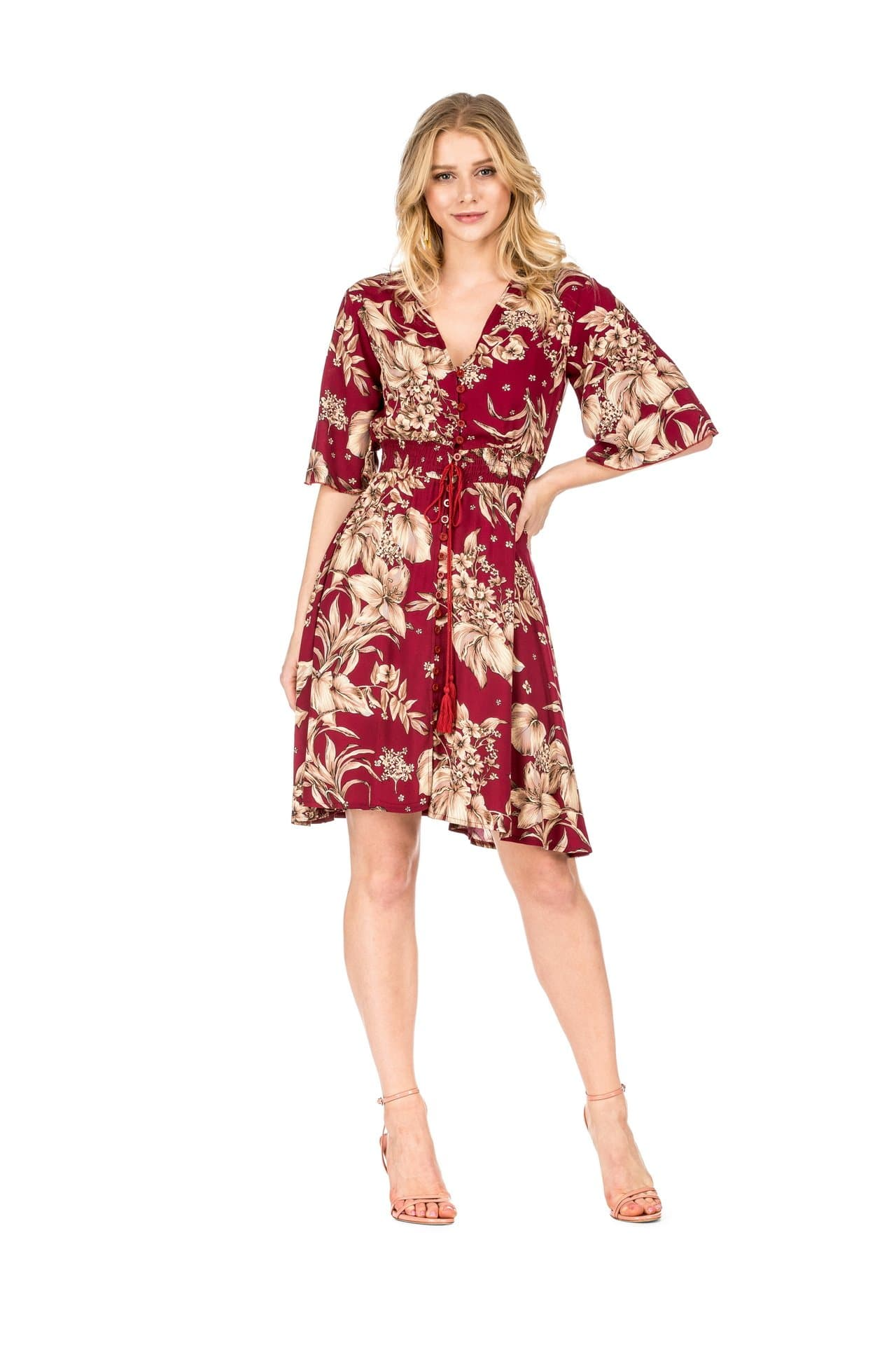 DAILYHAUTE Women's dress WINE / S Haute Edition Women's Button Up Floral Party Dress