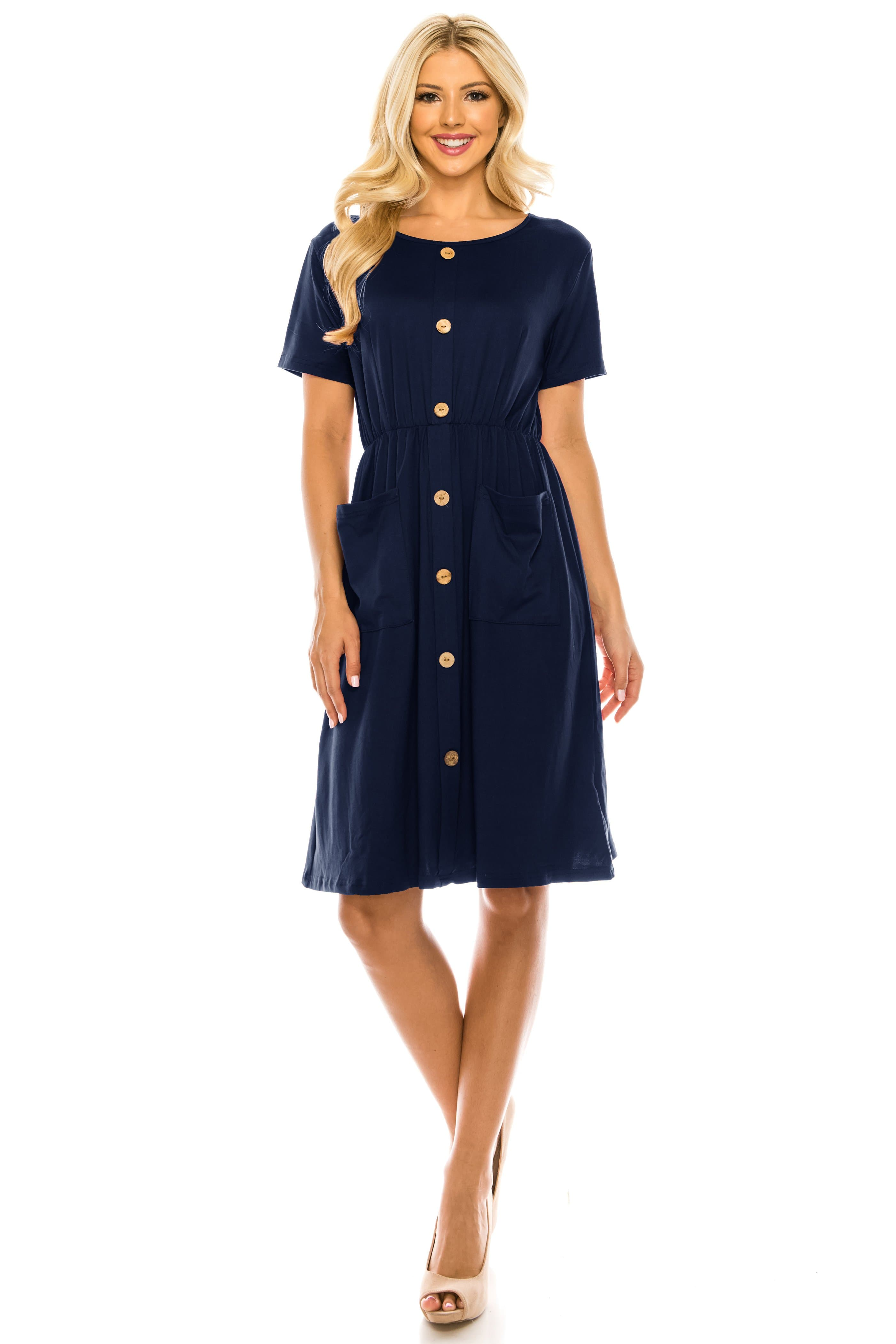 DAILYHAUTE Women's dress NAVY / S Haute Edition Women's Crewneck Button Down Dress With Front Pockets