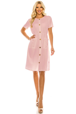 DAILYHAUTE Women's dress PINK / S Haute Edition Women's Crewneck Button Down Dress With Front Pockets