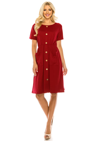 DAILYHAUTE Women's dress RED / S Haute Edition Women's Crewneck Button Down Dress With Front Pockets