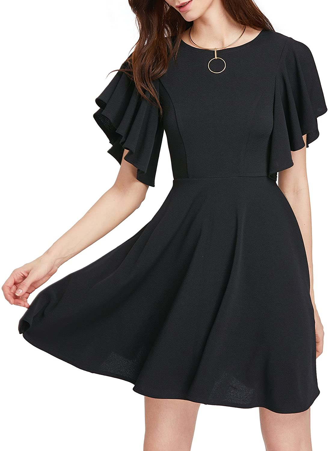 DAILYHAUTE Women's dress BLACK / S Haute Edition Women's Flared Skater Cocktail Party Dress