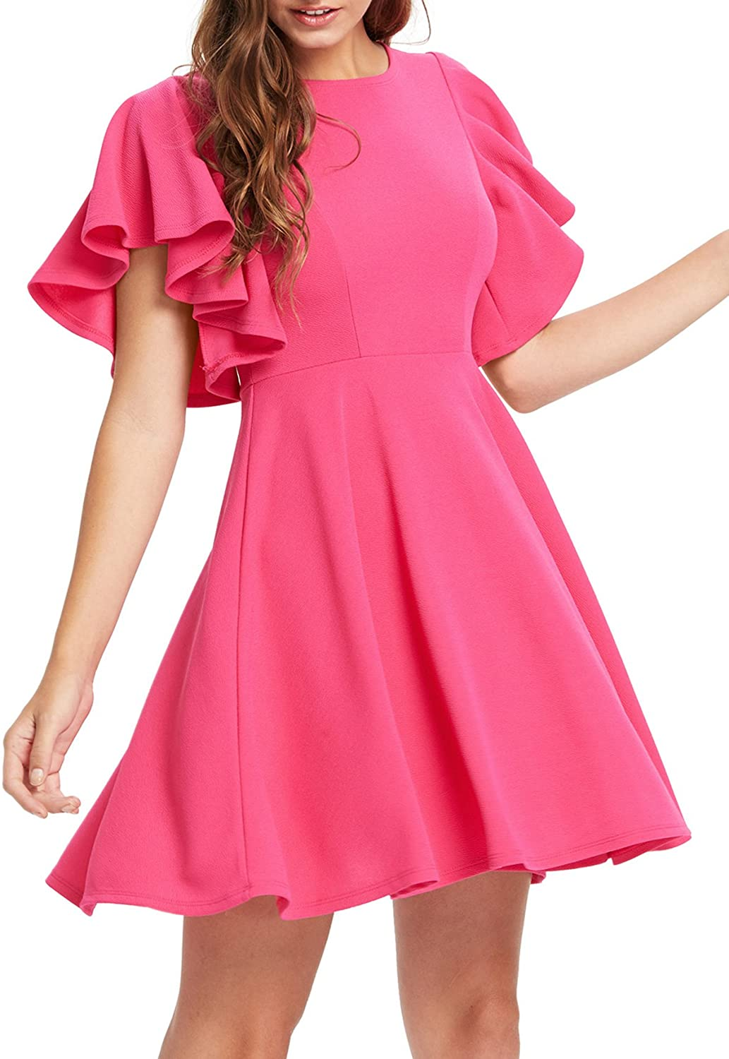 DAILYHAUTE Women's dress PINK / S Haute Edition Women's Flared Skater Cocktail Party Dress