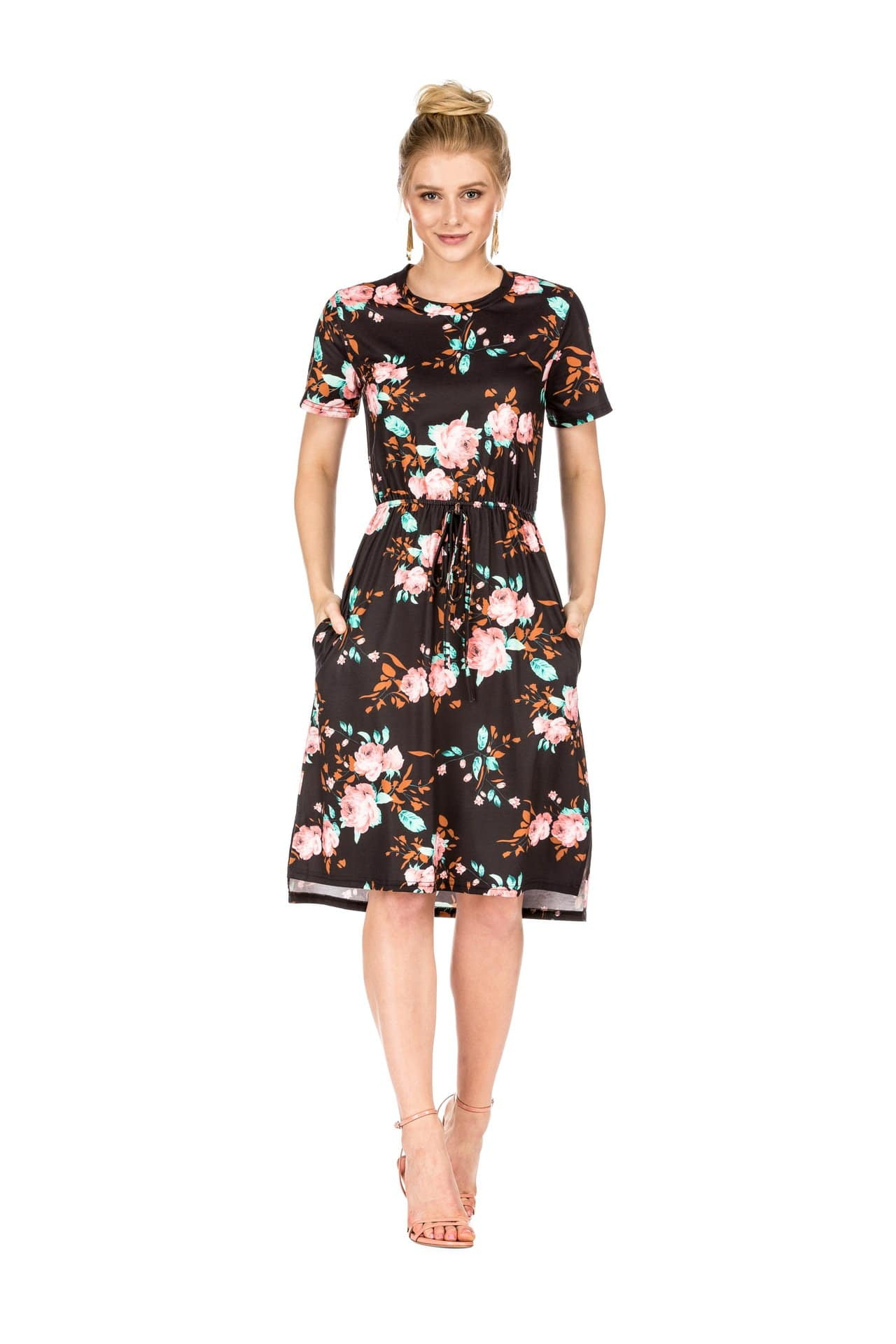 DAILYHAUTE Women's dress BLACK / S Haute Edition Women's Floral Casual Mid Dress With Pockets
