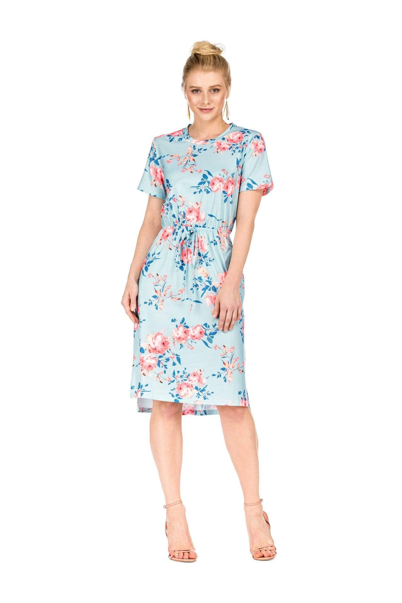 DAILYHAUTE Women's dress LIGHT BLUE / S Haute Edition Women's Floral Casual Mid Dress With Pockets