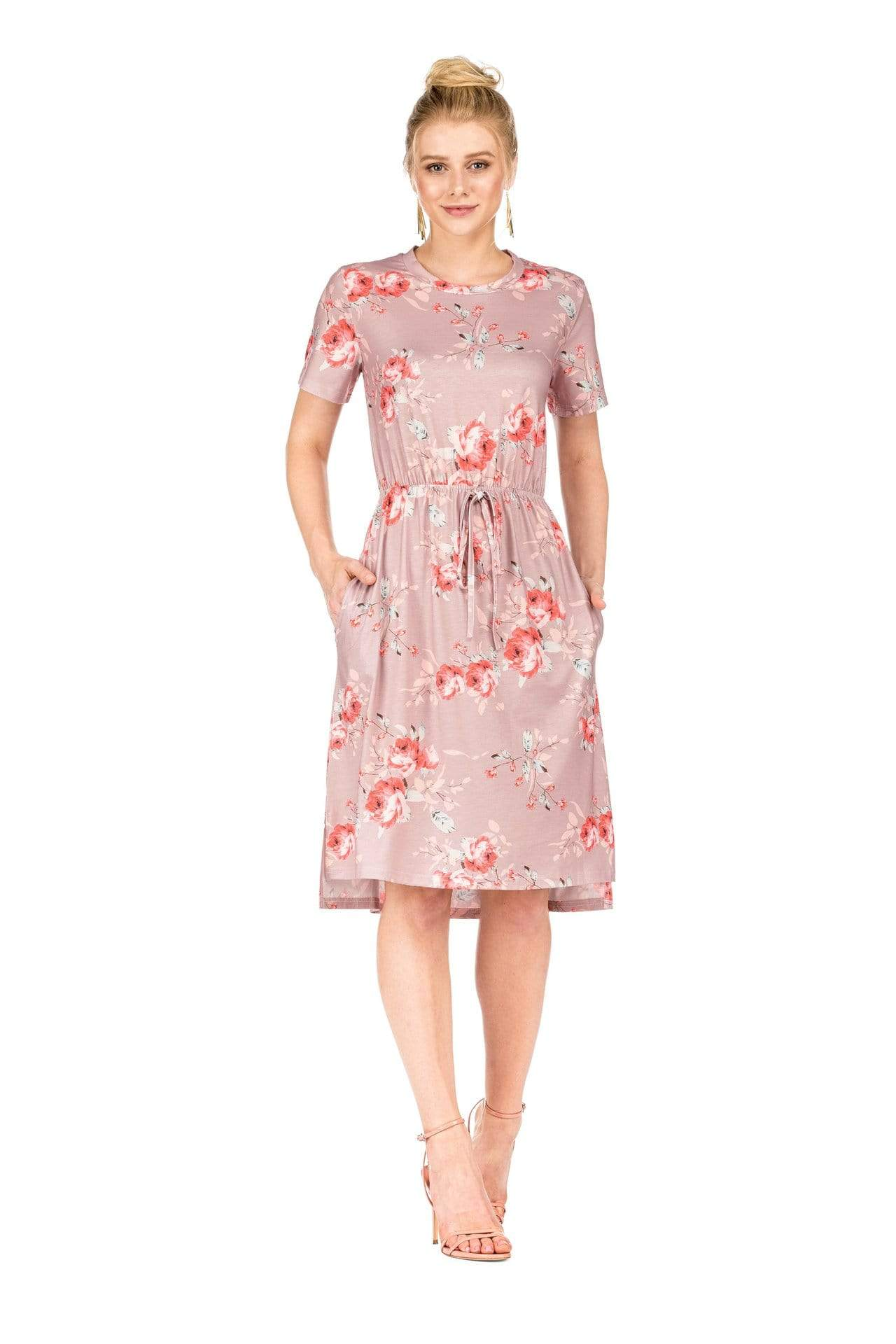 DAILYHAUTE Women's dress LIGHT PINK / S Haute Edition Women's Floral Casual Mid Dress With Pockets