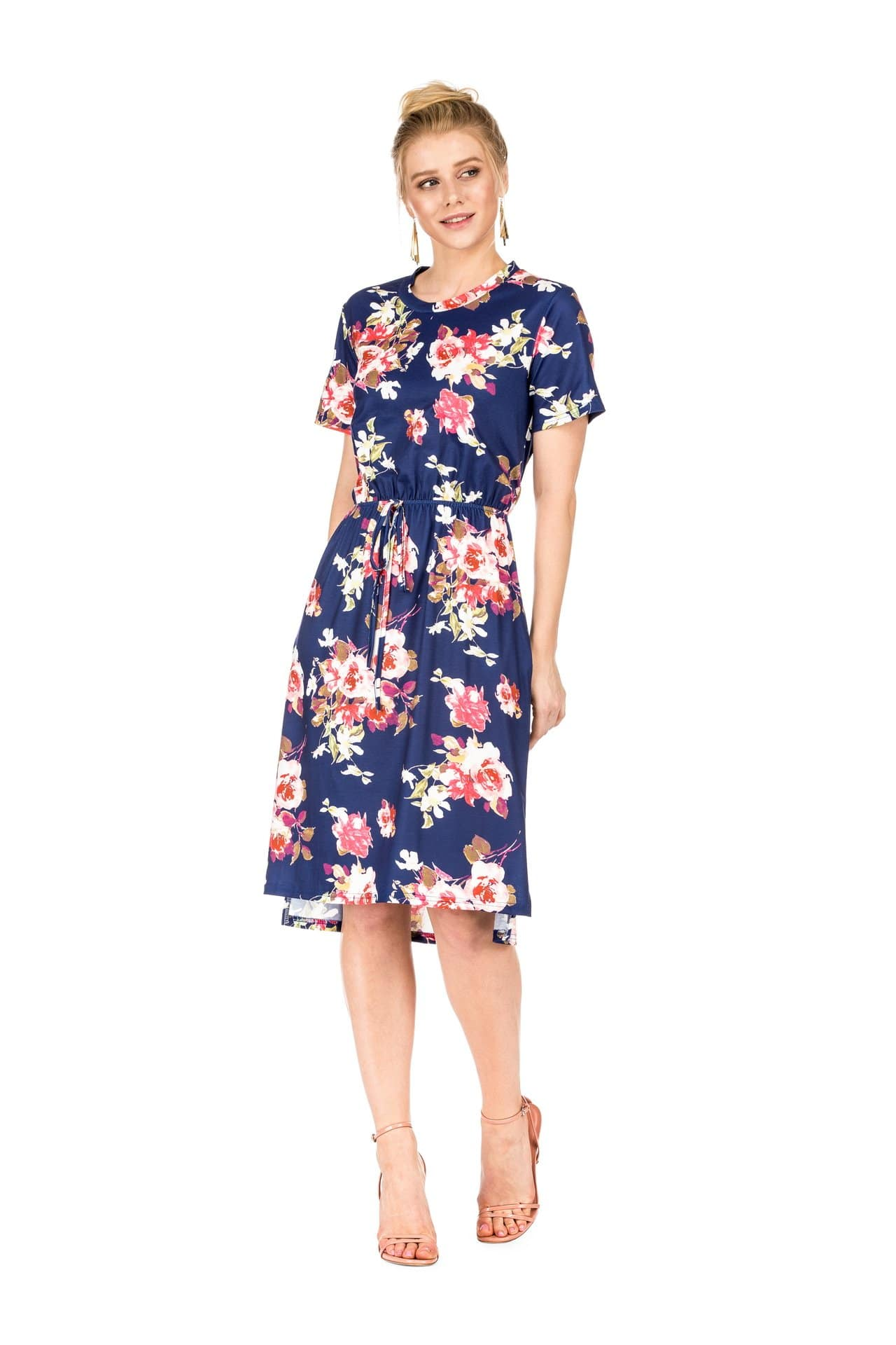 DAILYHAUTE Women's dress NAVY / S Haute Edition Women's Floral Casual Mid Dress With Pockets