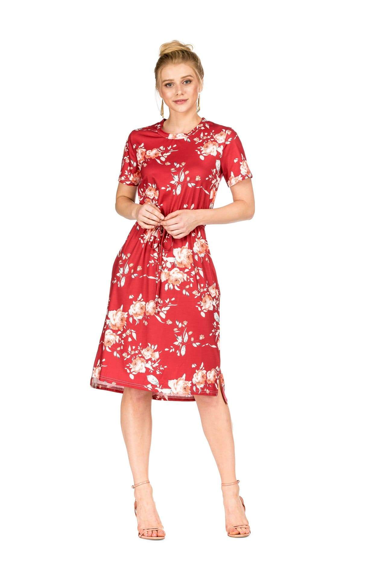 DAILYHAUTE Women's dress RED / S Haute Edition Women's Floral Casual Mid Dress With Pockets