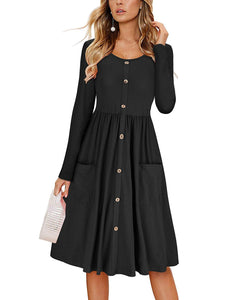 DAILYHAUTE Women's dress BLACK / S Haute Edition Women's Long Sleeve Button Down Dress with Pockets