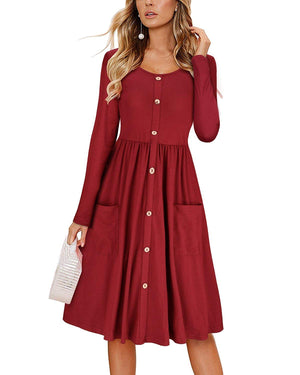 DAILYHAUTE Women's dress BURGUNDY / S Haute Edition Women's Long Sleeve Button Down Dress with Pockets