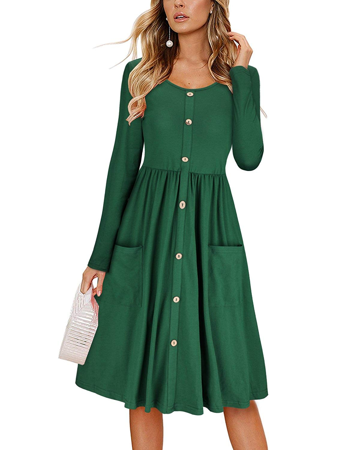 DAILYHAUTE Women's dress HUNTER GREEN / S Haute Edition Women's Long Sleeve Button Down Dress with Pockets