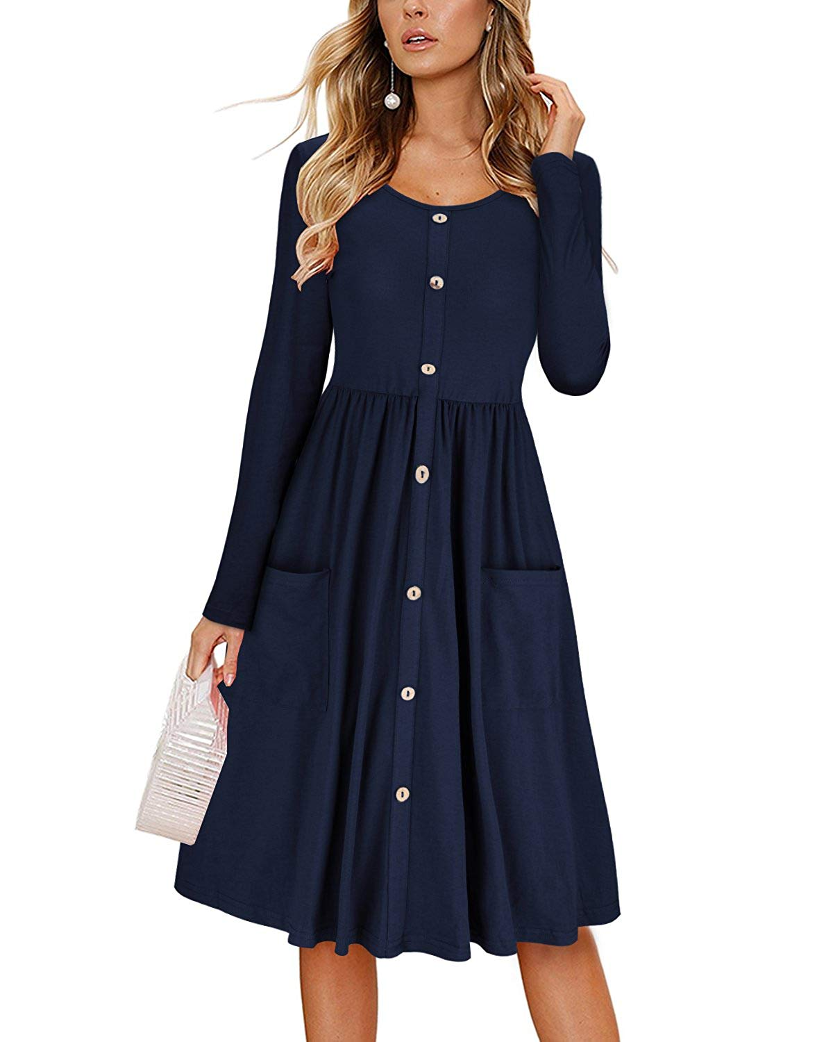 DAILYHAUTE Women's dress NAVY / S Haute Edition Women's Long Sleeve Button Down Dress with Pockets