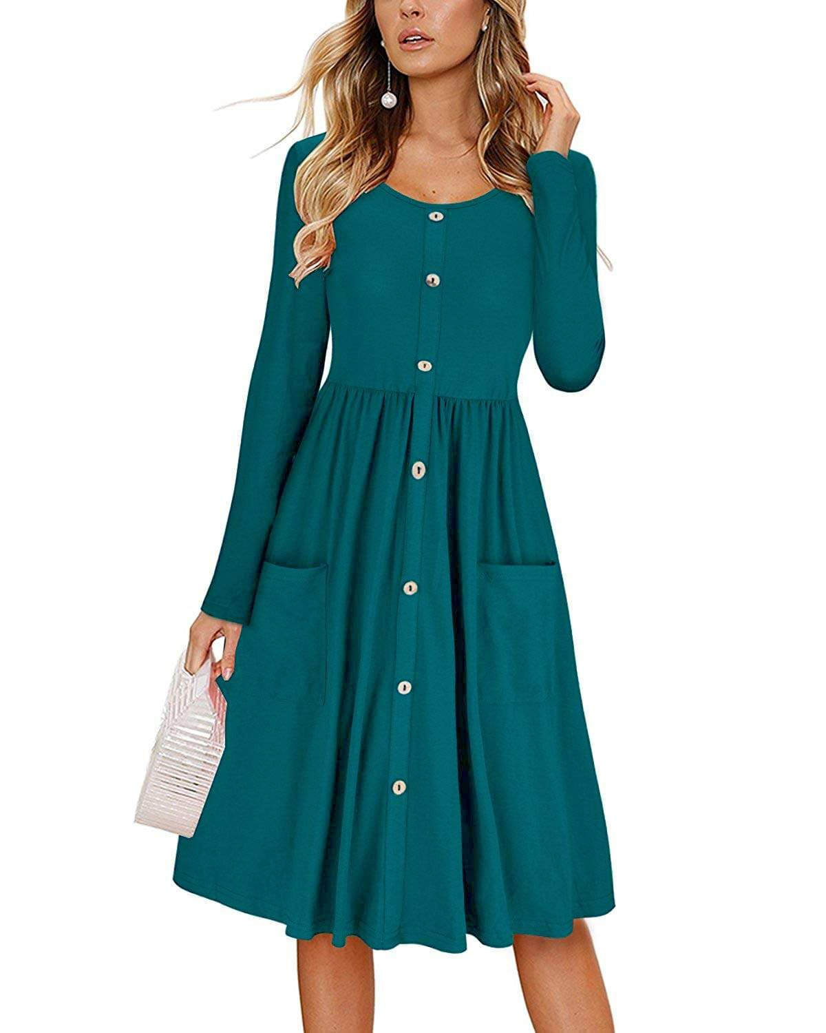 DAILYHAUTE Women's dress PEACOCK BLUE / S Haute Edition Women's Long Sleeve Button Down Dress with Pockets