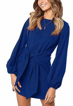 DAILYHAUTE Women's dress BLUE / S Haute Edition Women's Long Sleeve Tie Waist Casusal Dress