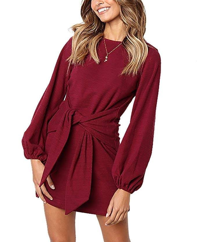 DAILYHAUTE Women's dress BURGUNDY / S Haute Edition Women's Long Sleeve Tie Waist Casusal Dress