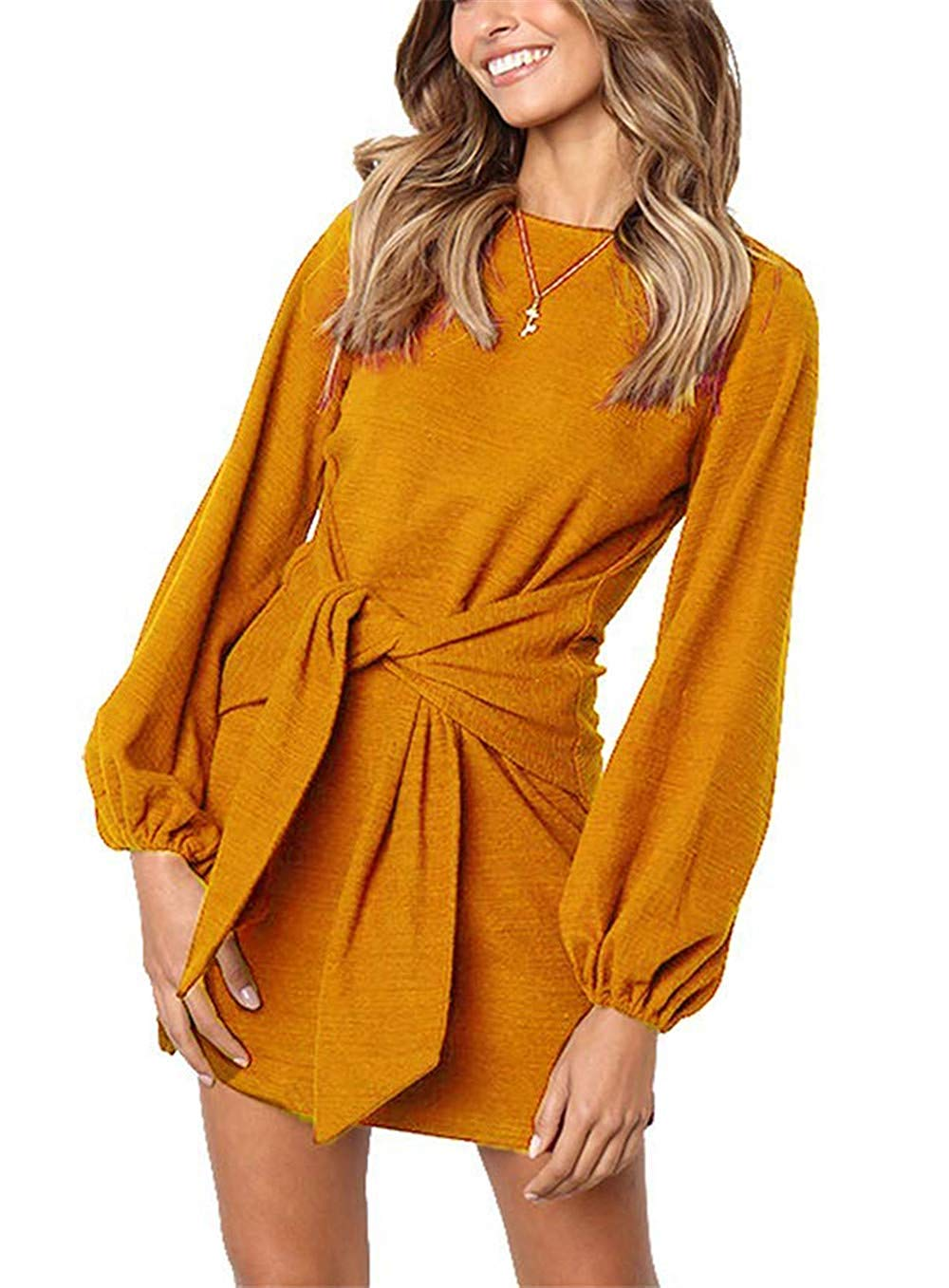 DAILYHAUTE Women's dress MUSTARD / S Haute Edition Women's Long Sleeve Tie Waist Casusal Dress