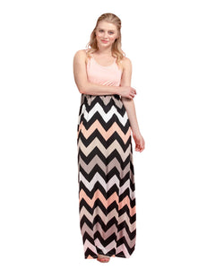 DAILYHAUTE Women's dress PINK / S Haute Edition Women's Maxi Chevron Stripped Dress
