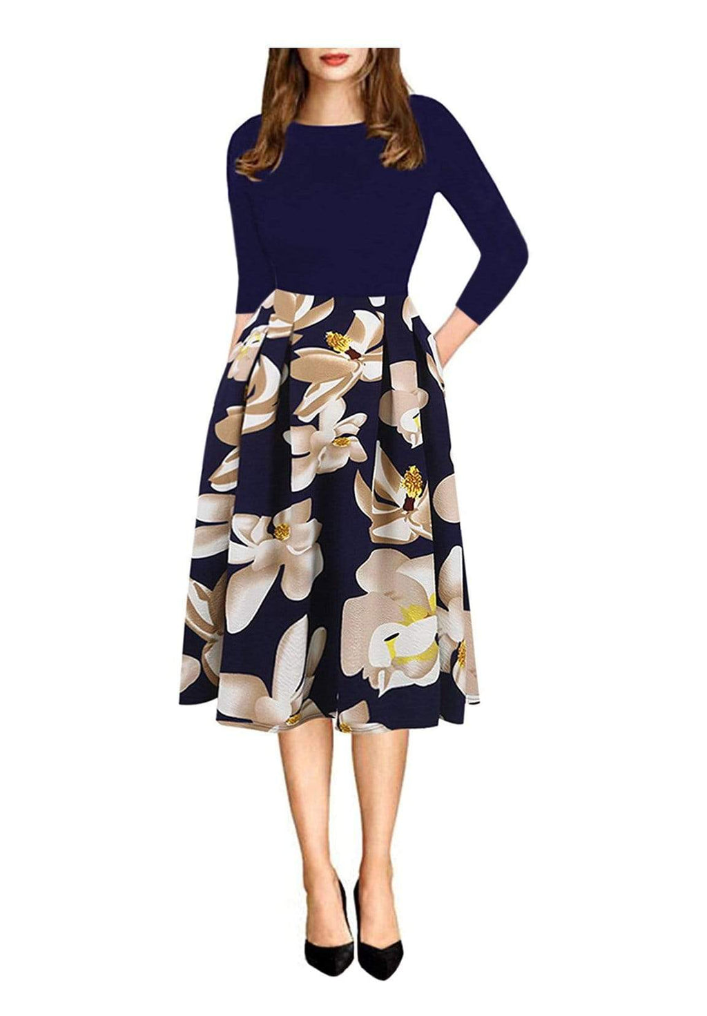 DAILYHAUTE Women's dress NAVY / S Haute Edition Women's Retro 3/4 Sleeve Party Dress with Pockets