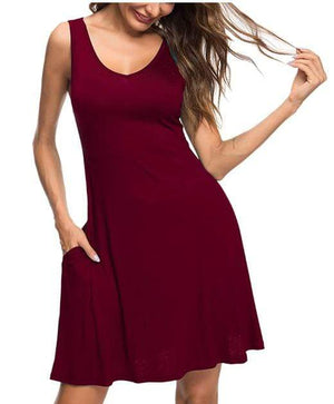 DAILYHAUTE Women's dress WINE / S Haute Edition Women's Summer Sleeveless Tank Dress with Pockets