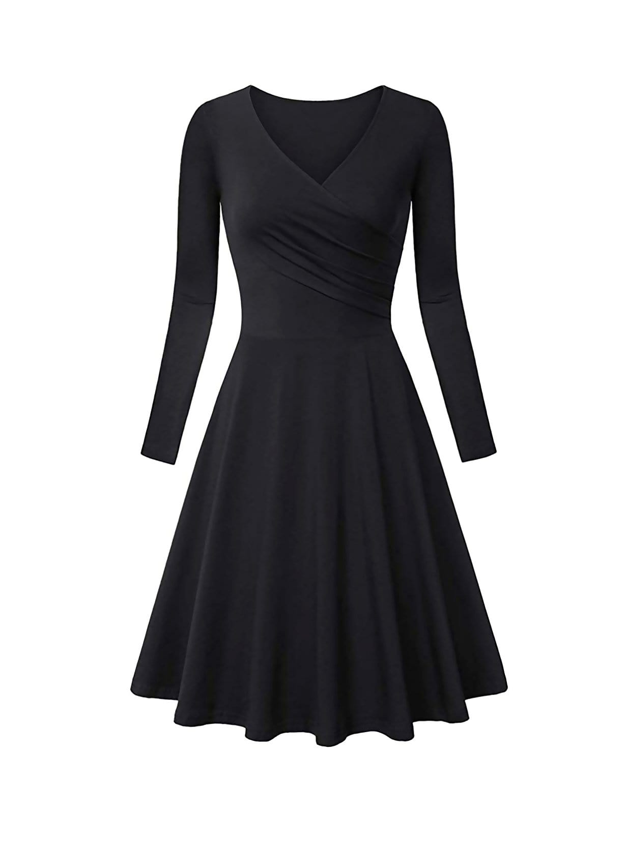DAILYHAUTE Women's dress BLACK / S Haute Edition Women's V-Neck Long Sleeve Skater Dress