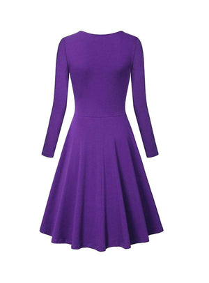 DAILYHAUTE Women's dress Haute Edition Women's V-Neck Long Sleeve Skater Dress