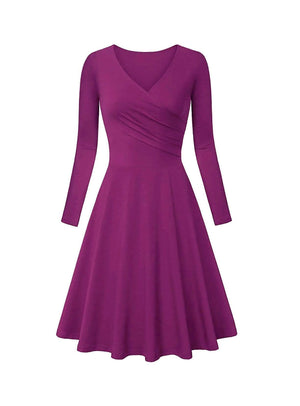DAILYHAUTE Women's dress DARKMAUVE / S Haute Edition Women's V-Neck Long Sleeve Skater Dress