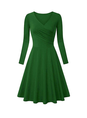 DAILYHAUTE Women's dress GREEN / S Haute Edition Women's V-Neck Long Sleeve Skater Dress