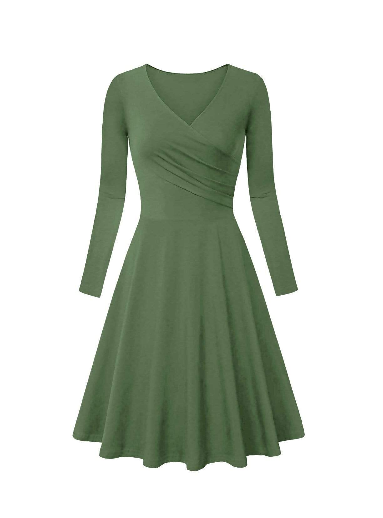 DAILYHAUTE Women's dress OLIVE / S Haute Edition Women's V-Neck Long Sleeve Skater Dress
