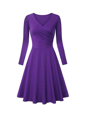 DAILYHAUTE Women's dress PURPLE / S Haute Edition Women's V-Neck Long Sleeve Skater Dress