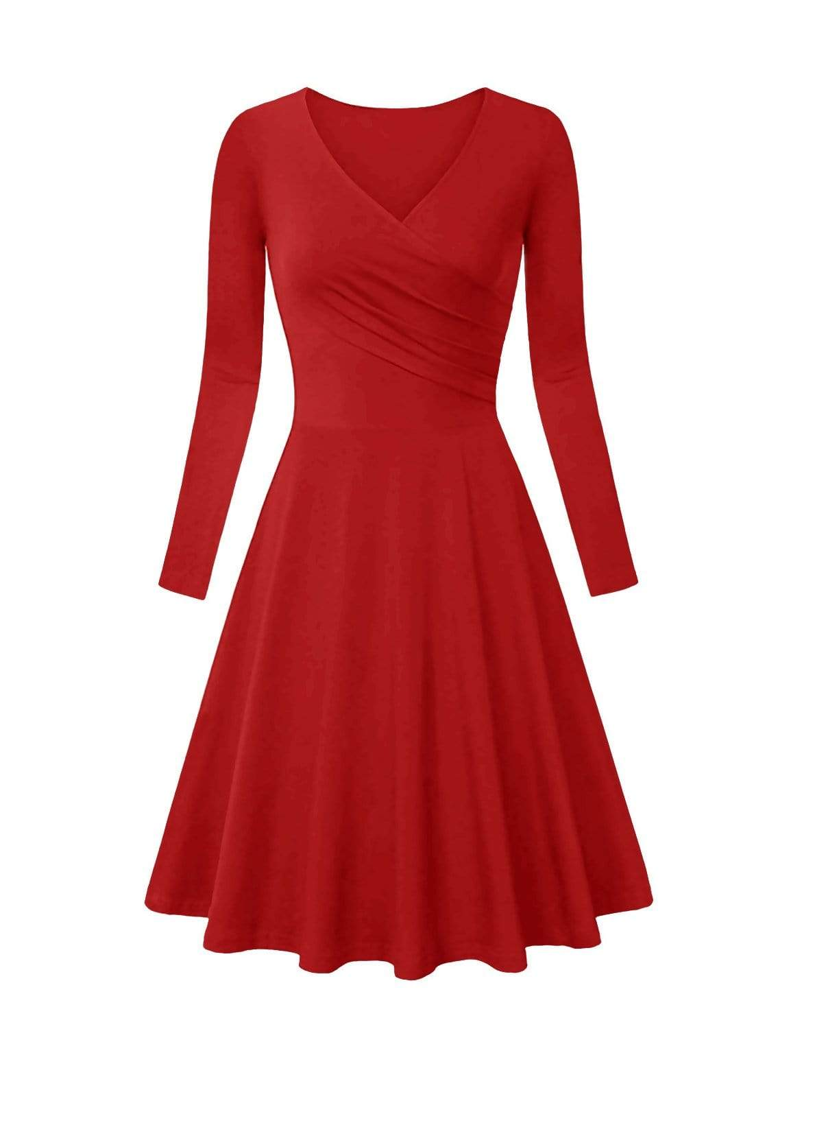 DAILYHAUTE Women's dress RED / S Haute Edition Women's V-Neck Long Sleeve Skater Dress