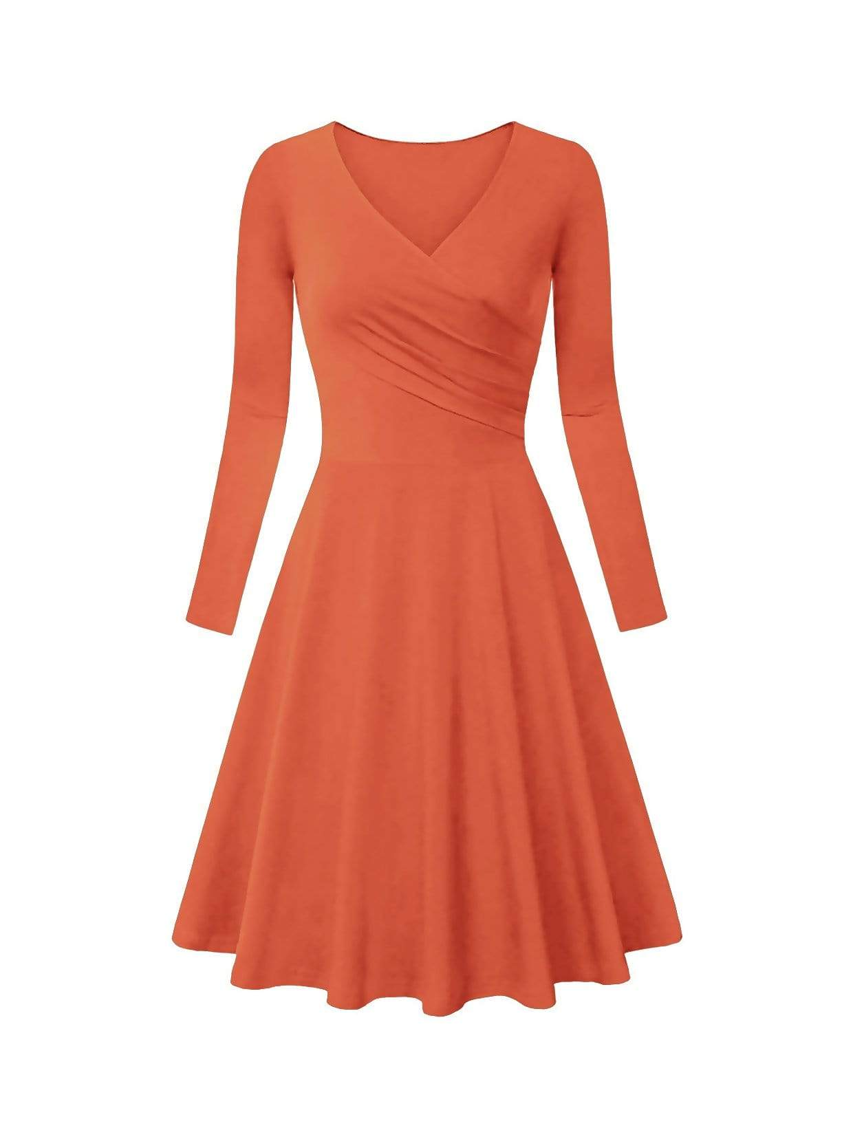 DAILYHAUTE Women's dress RUST / S Haute Edition Women's V-Neck Long Sleeve Skater Dress