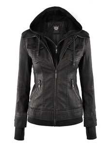 DAILYHAUTE Women's jacket BLACK / XS Made By Johnny MBJ Womens Faux Leather Motorcycle Jacket with Hoodie