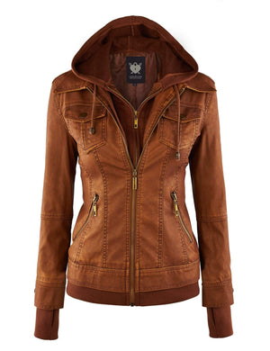 DAILYHAUTE Women's jacket CAMEL / XS Made By Johnny MBJ Womens Faux Leather Motorcycle Jacket with Hoodie