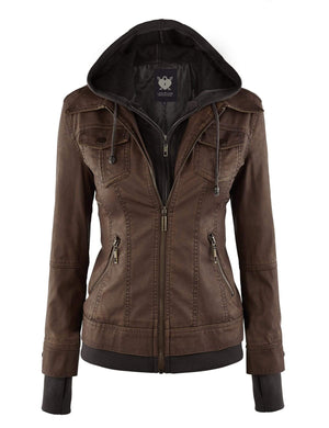 DAILYHAUTE Women's jacket COFFEE / XS Made By Johnny MBJ Womens Faux Leather Motorcycle Jacket with Hoodie