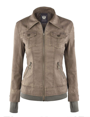 DAILYHAUTE Women's jacket Made By Johnny MBJ Womens Faux Leather Motorcycle Jacket with Hoodie