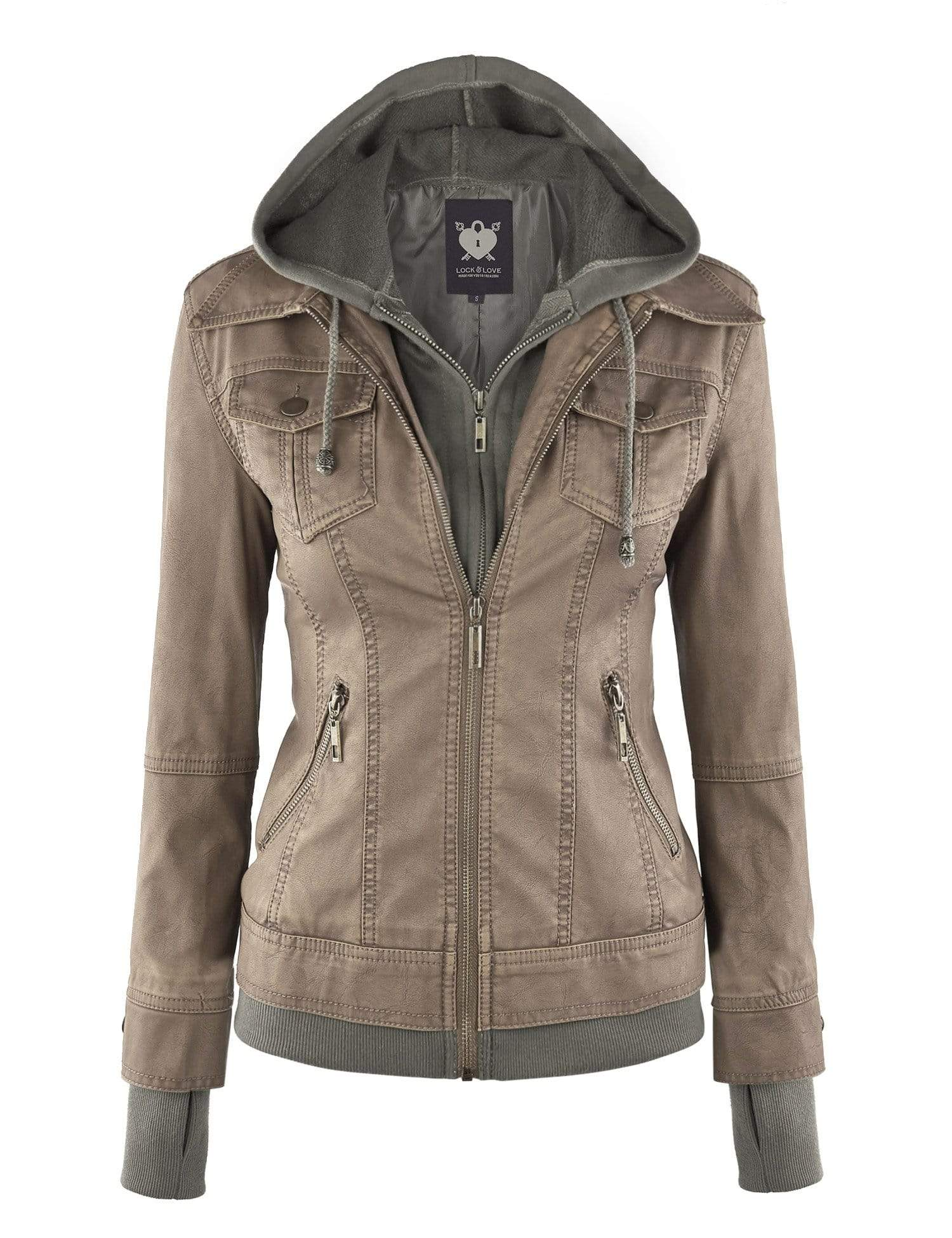 DAILYHAUTE Women's jacket KHAKI / XS Made By Johnny MBJ Womens Faux Leather Motorcycle Jacket with Hoodie