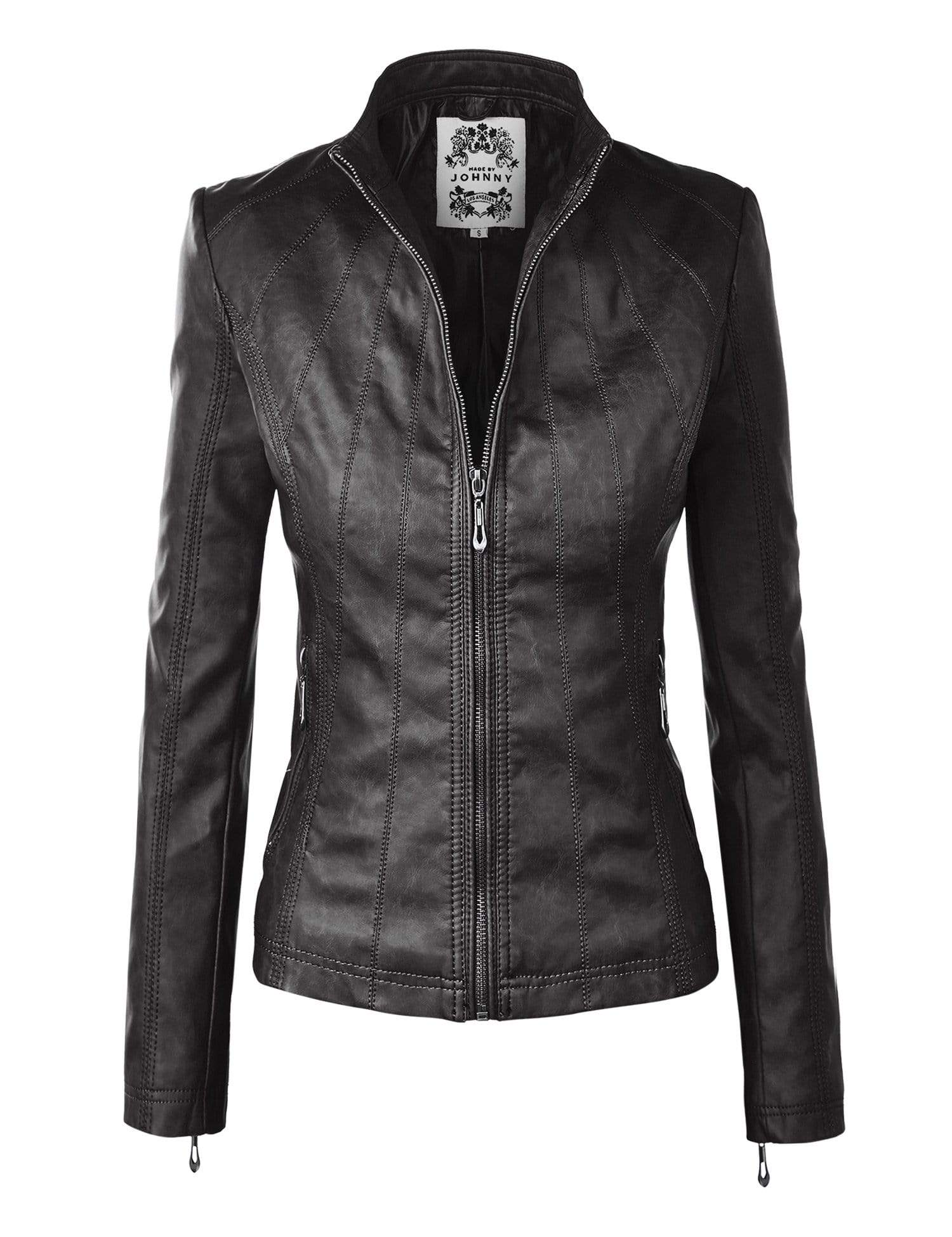 DAILYHAUTE Women's jacket BLACK / XS Made By Johnny MBJ Womens Faux Leather Zip Up Moto Biker Jacket with Stitching Detail