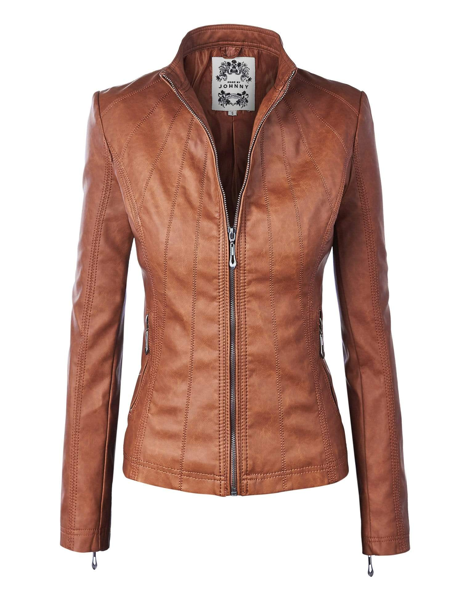DAILYHAUTE Women's jacket CAMEL / XS Made By Johnny MBJ Womens Faux Leather Zip Up Moto Biker Jacket with Stitching Detail