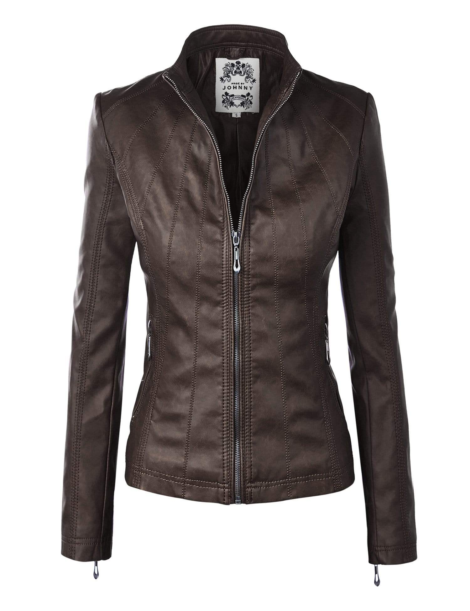DAILYHAUTE Women's jacket COFFEE / XS Made By Johnny MBJ Womens Faux Leather Zip Up Moto Biker Jacket with Stitching Detail