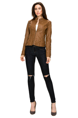 DAILYHAUTE Women's jacket Made By Johnny MBJ Womens Faux Leather Zip Up Moto Biker Jacket with Stitching Detail