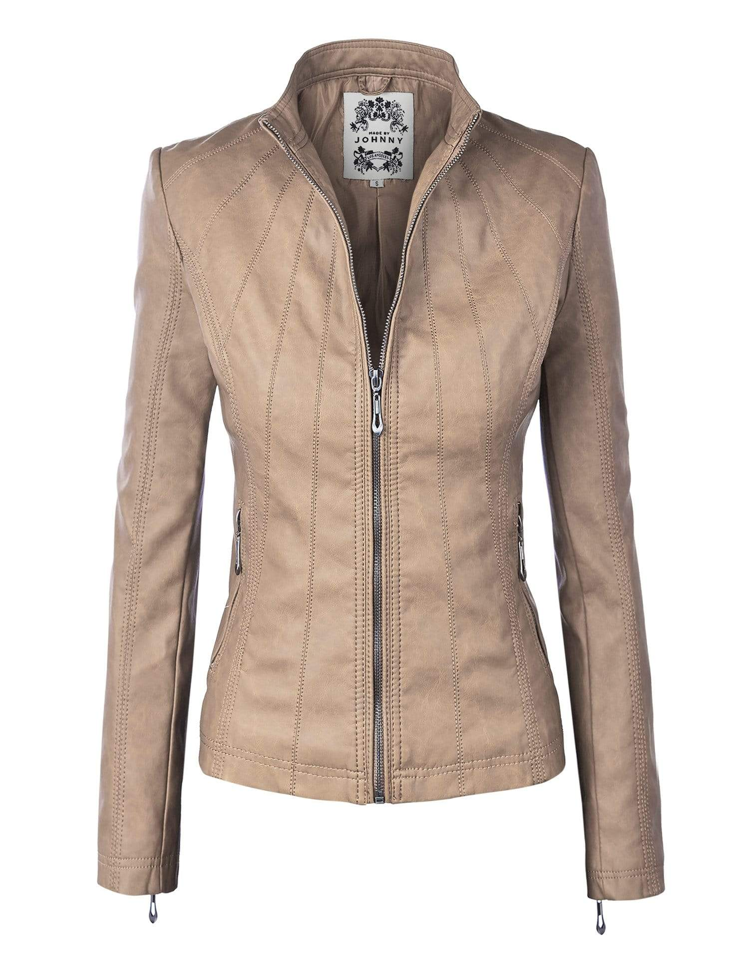 DAILYHAUTE Women's jacket KHAKI / XS Made By Johnny MBJ Womens Faux Leather Zip Up Moto Biker Jacket with Stitching Detail