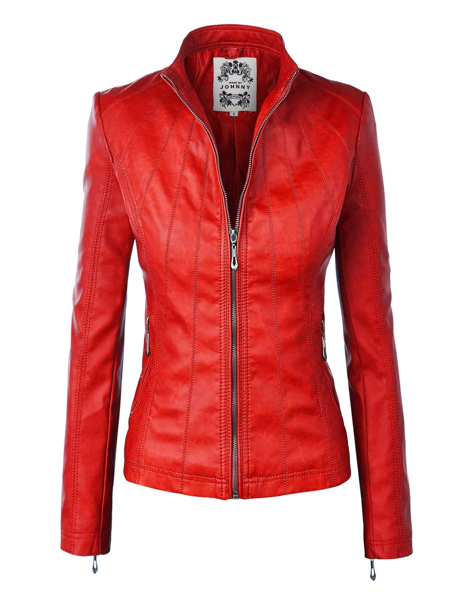 DAILYHAUTE Women's jacket RED / XS Made By Johnny MBJ Womens Faux Leather Zip Up Moto Biker Jacket with Stitching Detail