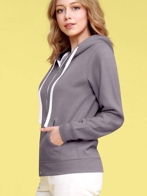 DAILYHAUTE Women's jacket Made By Johnny Women's Active Casual Zip-up Hoodie Long Sleeve Lightweight Sweatshirt