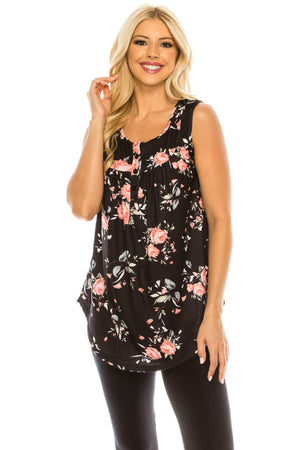 Haute Edition WOMEN'S TOP BLACK/PINK FLORAL / S Haute Edition Henley Button Up Printed Flowy Tank Tops with Plus Sizes