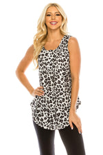 Haute Edition WOMEN'S TOP BLACK/WHITE LEOPARD / S Haute Edition Henley Button Up Printed Flowy Tank Tops with Plus Sizes