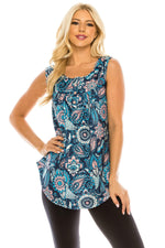 Haute Edition WOMEN'S TOP BLUE/PEACH PAISLEY / S Haute Edition Henley Button Up Printed Flowy Tank Tops with Plus Sizes