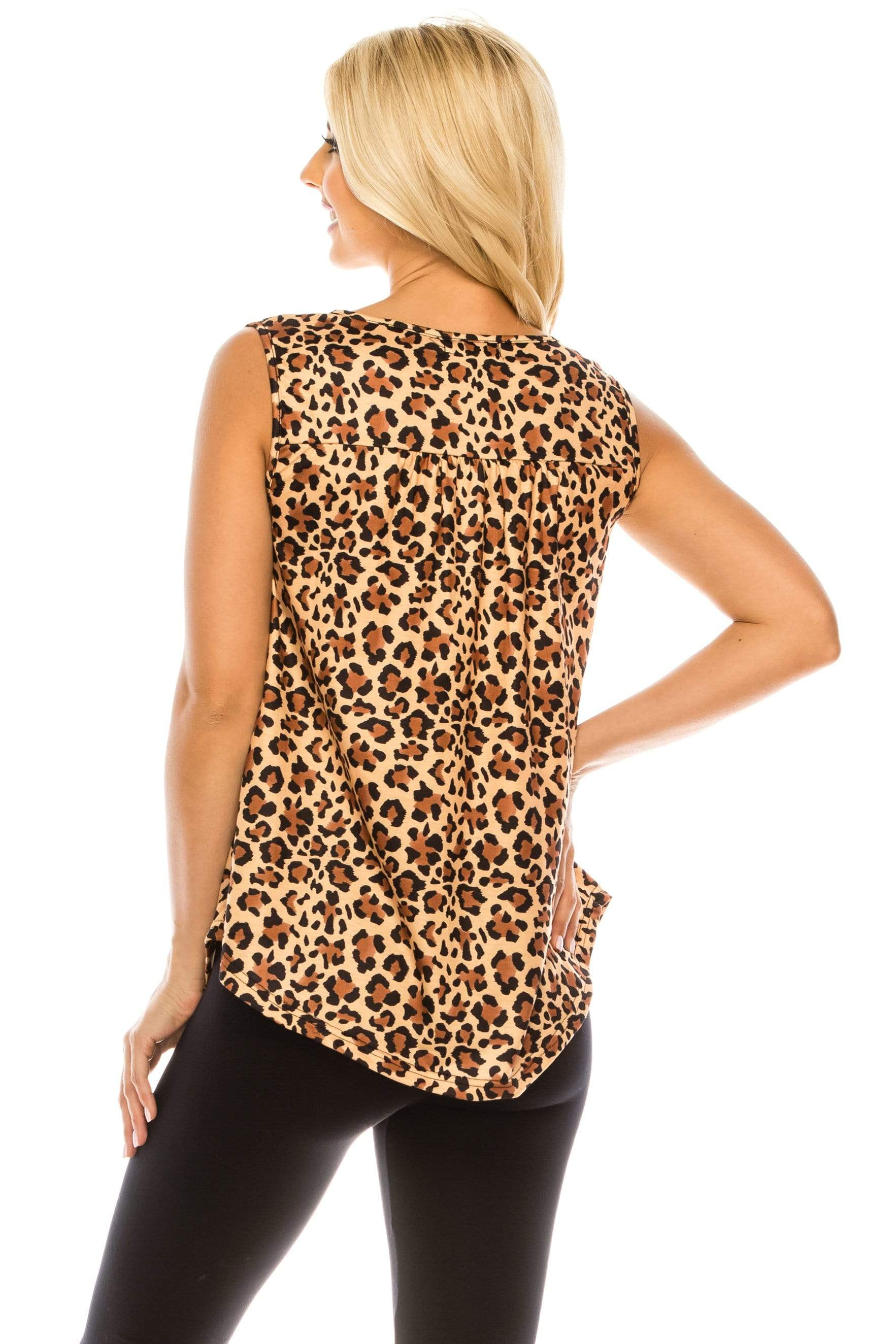 Haute Edition WOMEN'S TOP Haute Edition Henley Button Up Printed Flowy Tank Tops with Plus Sizes