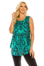 Haute Edition WOMEN'S TOP GREEN/NAVY PAISLEY / S Haute Edition Henley Button Up Printed Flowy Tank Tops with Plus Sizes