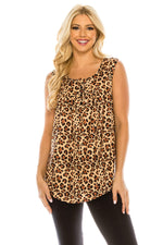 Haute Edition WOMEN'S TOP LEOPARD / S Haute Edition Henley Button Up Printed Flowy Tank Tops with Plus Sizes
