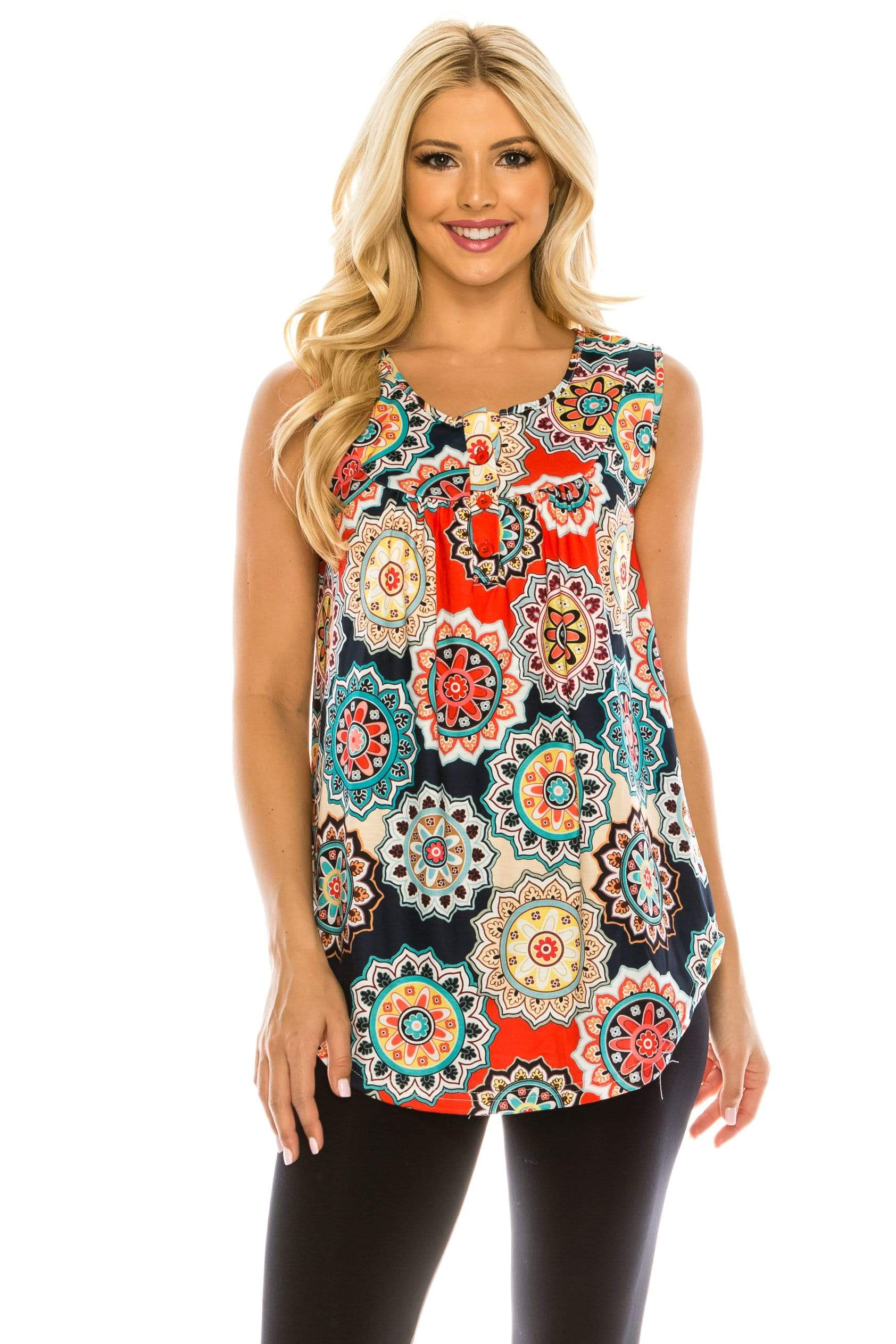 Haute Edition WOMEN'S TOP MEDALLON-1 / S Haute Edition Henley Button Up Printed Flowy Tank Tops with Plus Sizes